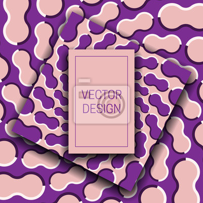 Optical illusion moving pink purple background with rectangular frame for text. Trendy packaging design or cover template.