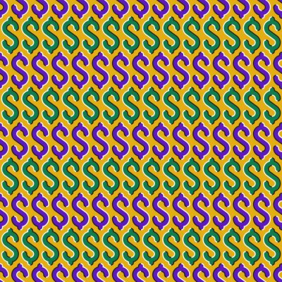 Optical illusion seamless decoration of dollar sign moving pattern.