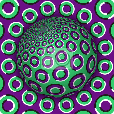 Optical illusion vector illustration. Green purple rings patterned sphere soaring above the same surface.