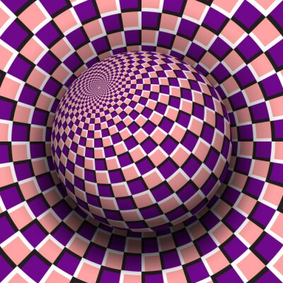 Optical illusion vector illustration. Purple pink checkered sphere soaring above the same surface.