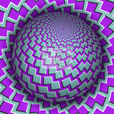 Optical illusion vector illustration. Sphere soaring above the surface. Blue purple patterned objects. Abstract background in a surreal style.