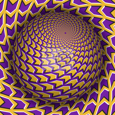 Optical illusion vector illustration. Sphere soaring above the surface. Yellow purple patterned objects. Abstract background in a surreal style.
