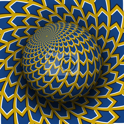 Optical illusion vector illustration. Yellow blue arrows patterned sphere soaring above the same surface.