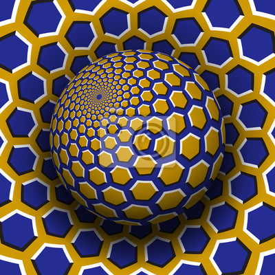Optical illusion vector illustration. Yellow blue hexagons patterned sphere soaring above the same surface.