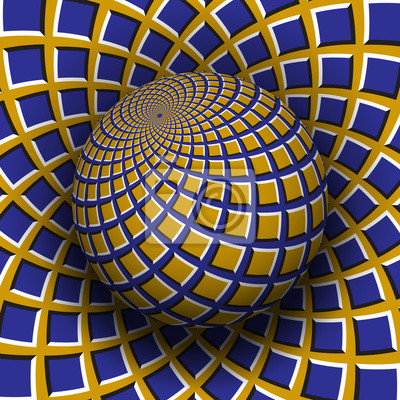 Optical illusion vector illustration. Yellow blue squares patterned sphere soaring above the same surface.