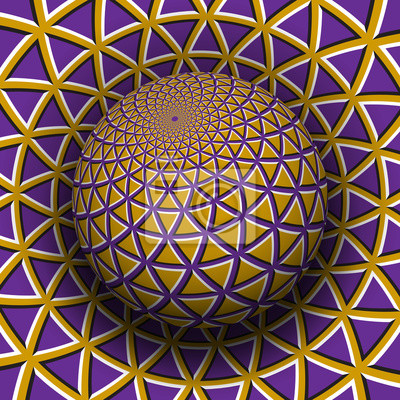 Optical illusion vector illustration. Yellow purple triangles patterned sphere soaring above the same surface.