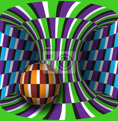 Optical motion illusion illustration. Sphere is rotation around of a moving hyperboloid. Abstract fantasy background in a surreal style.