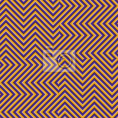 Optical motion illusion seamless pattern. Orange purple striped moving ornament.