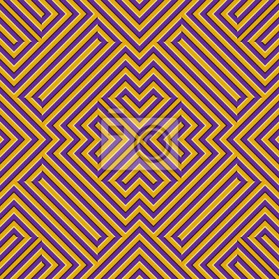 Optical motion illusion seamless pattern. Yellow purple striped moving ornament.