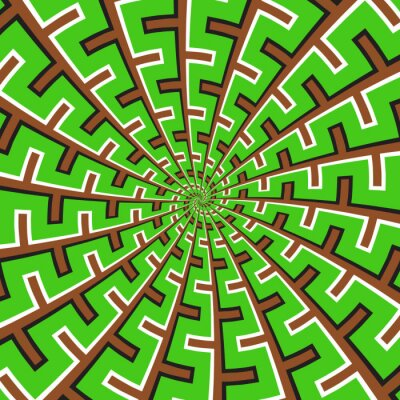Optical motion illusion vector background. Green brown spiral broken striped pattern move around the center.