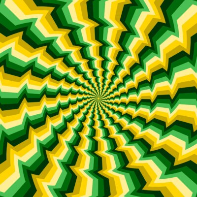 Optical motion illusion vector background. Yellow green broken stripes move around the center.