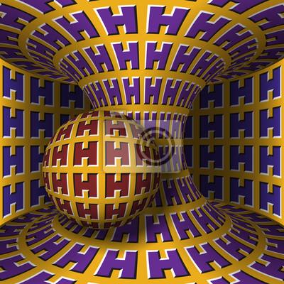 Optische Bewegung Illusion Abbildung. Kugel ist Rotation um einen sich bewegenden Hyperboloid. Abstrakter Fantasiehintergrund in einer surrealen Art.