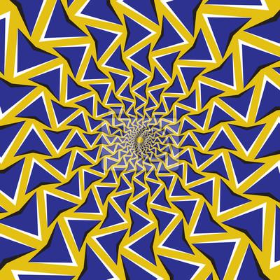Optische Bewegung Illusion Hintergrund. Blaue Pfeile drehen sich kreisförmig um das Zentrum auf gelbem Hintergrund.