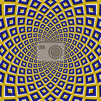 Optische Bewegung Illusion Hintergrund. Blaue Quadrate fliegen zirkulär vom Zentrum auf gelbem Hintergrund.