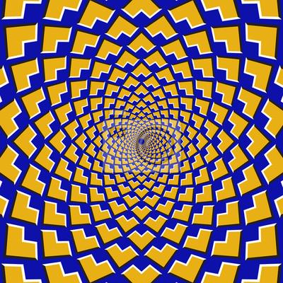 Optische Bewegung Illusion Hintergrund. Gelbe Ecken fliegen auseinander zirkulär aus dem Zentrum auf blauem Hintergrund.