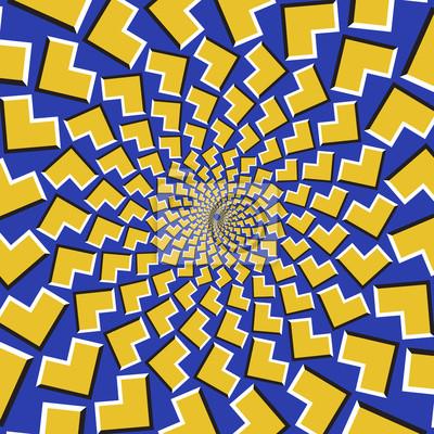 Optische Bewegung Illusion Hintergrund. Gelbe Pfeile fliegen zirkular aus dem Zentrum auf blauem Hintergrund.