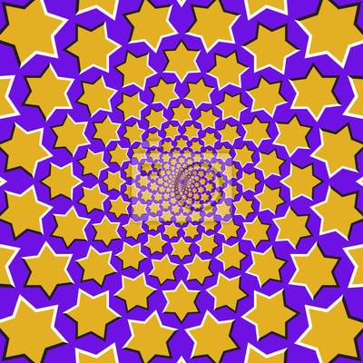 Optische Bewegung Illusion Hintergrund. Gelbe sechs spitze Sterne fliegen auseinander zirkulär aus der Mitte auf blauem Hintergrund.