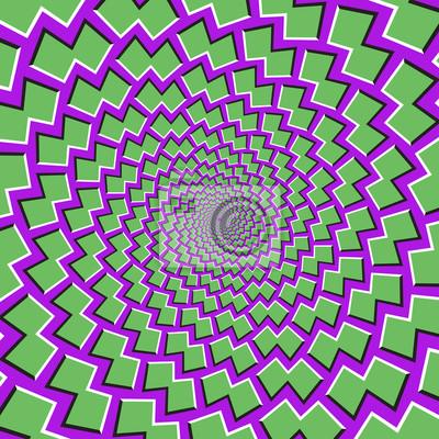 Optische Bewegung Illusion Hintergrund. Grüne Formen fliegen auseinander zirkulär aus der Mitte auf lila Hintergrund.