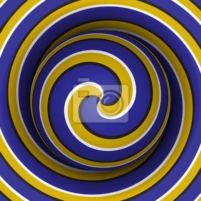 Optische Bewegung Illusion Hintergrund. Kugel mit einem blauen gelben Spiralmuster auf Doppelhelix Hintergrund.