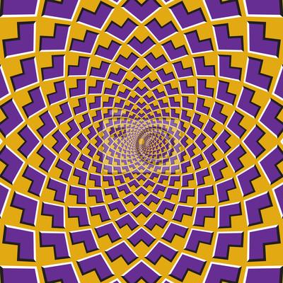 Optische Bewegung Illusion Hintergrund. Lila Ecken strömen zirkulär zur Mitte auf gelbem Hintergrund zusammen.
