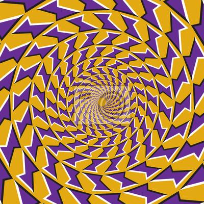 Optische Bewegung Illusion Hintergrund. Lila Formen fliegen auseinander von der Mitte auf gelbem Hintergrund.