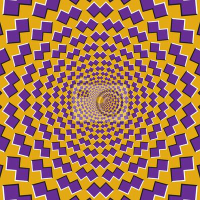 Optische Bewegung Illusion Hintergrund. Lila Formen fliegen auseinander zirkulär aus der Mitte auf gelbem Hintergrund.