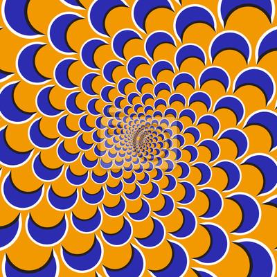 Optische Bewegung Illusion Hintergrund. Lila Formen fliegen auseinander zirkulär aus der Mitte auf orange Hintergrund.