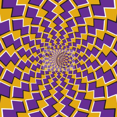 Optische Bewegung Illusion Hintergrund. Lila Formen um die Mitte auf gelbem Hintergrund drehen.