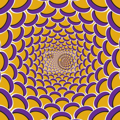 Optische Bewegung Illusion Hintergrund. Lila Halbmond zusammen zirkulär zur Mitte auf gelbem Hintergrund.