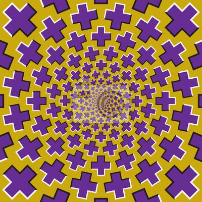 Optische Bewegung Illusion Hintergrund. Lila Kreuze fliegen auseinander zirkulär von der Mitte auf gelbem Hintergrund.