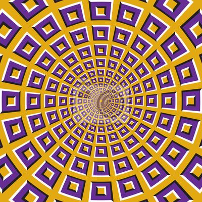 Optische Bewegung Illusion Hintergrund. Lila Quadrate fliegen auseinander von der Mitte auf gelbem Hintergrund.