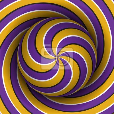 Optische Bewegung Illusion Hintergrund. Sphere mit einem lila gelb mehrere Spirale Muster auf Helix Hintergrund.