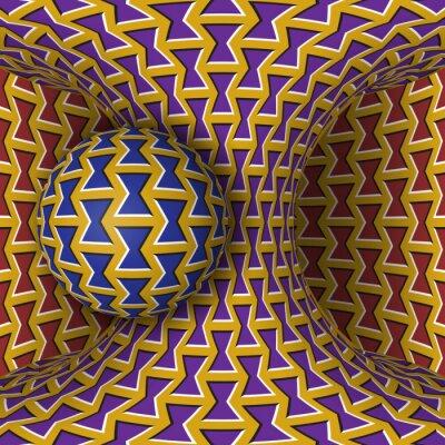 Optische Bewegung Illusion Illustration. Eine Kugel dreht sich um ein bewegliches Hyperbolo. Zusammenfassung Fantasie in einem surrealen Stil.