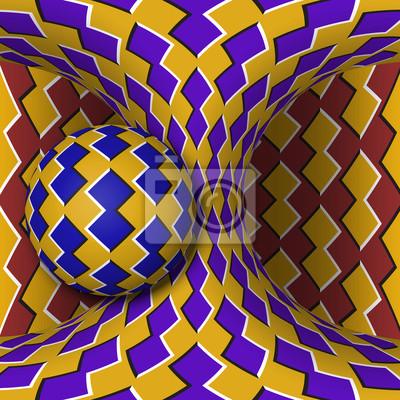 Optische Bewegung Illusion Illustration. Eine Kugel dreht sich um einen sich bewegenden Hyperboloid. Abstrakte Phantasie in einem surrealen Stil.