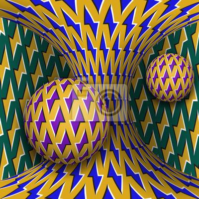 Optische Bewegung Illusion Illustration. Zwei Sphären drehen sich um einen sich bewegenden Hyperboloid. Abstrakte Phantasie in einem surrealen Stil.