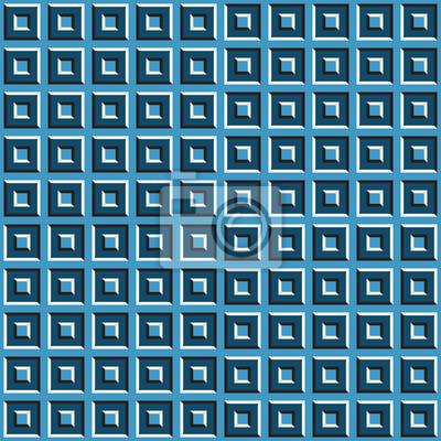 Optische Bewegung Illusion nahtlose Muster der blauen Quadrate.