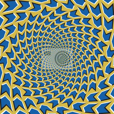 Optische Bewegung Illusion Vektor Hintergrund. Blaue Pfeile strömen zirkulär von der Mitte auf gelbem Hintergrund.