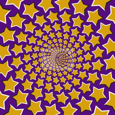 Optische Bewegung Illusion Vektor Hintergrund. Gelbe fünf spitze Sterne fliegen kreisförmig von der Mitte auf blauem Hintergrund.
