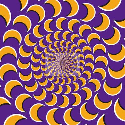 Optische Bewegung Illusion Vektor Hintergrund. Gelbe Halbmondflocke zusammen zirkulär zum Zentrum auf lila Hintergrund.