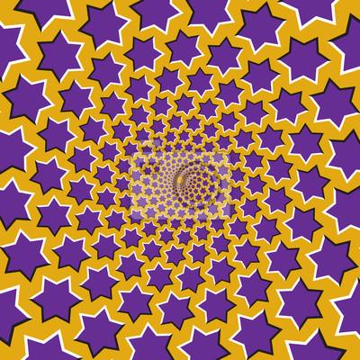 Optische Bewegung Illusion Vektor Hintergrund. Lila sechs spitze Sterne strömen zirkulär von der Mitte auf gelbem Hintergrund.