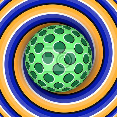 Optische Illusion der Rotation der Kugel vor dem Hintergrund einer sich bewegenden Spirale.