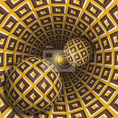 Optische Illusion Illustration. Zwei Kugeln bewegen sich im rotierenden Loch. Braunblöcke auf gelben Musterobjekten. Abstrakte Phantasie in einem surrealen Stil.
