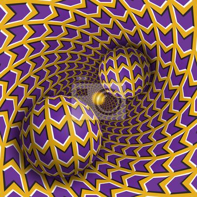 Optische Illusion Illustration. Zwei Kugeln bewegen sich im rotierenden Loch. Lila Pfeile auf gelben Musterobjekten. Abstrakte Phantasie in einem surrealen Stil.