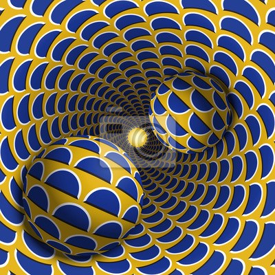Optische Illusion Illustration. Zwei Kugeln bewegen sich in gesprenkeltes Loch. Blauer Halbmond auf gelben Musterobjekten. Abstrakte Phantasie in einem surrealen Stil.