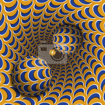 Optische Illusion Illustration. Zwei Kugeln bewegen sich in gesprenkeltes Loch. Blauer Halbmond auf orange Musterobjekten. Abstrakte Phantasie in einem surrealen Stil.