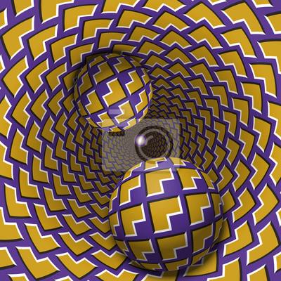 Optische Illusion Illustration. Zwei Kugeln bewegen sich in gesprenkeltes Loch. Gelbe Ecken auf lila Musterobjekten. Abstrakte Phantasie in einem surrealen Stil.