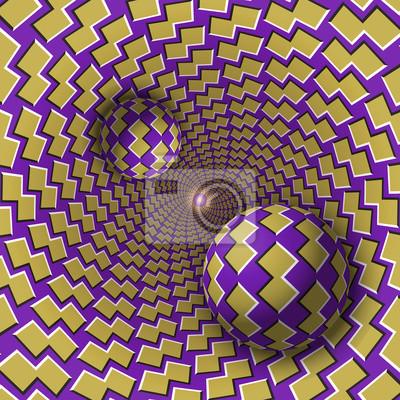 Optische Illusion Illustration. Zwei Kugeln bewegen sich in gesprenkeltes Loch. Gelbe Formen auf lila Musterobjekten. Abstrakte Phantasie in einem surrealen Stil.