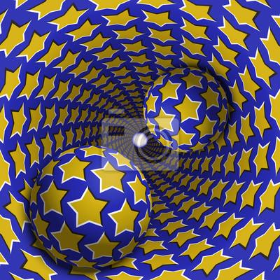 Optische Illusion Illustration. Zwei Kugeln bewegen sich in gesprenkeltes Loch. Gelbe Sterne auf blauem Muster Objekte. Abstrakte Phantasie in einem surrealen Stil.