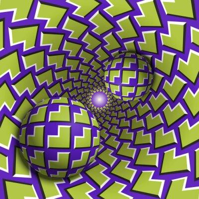 Optische Illusion Illustration. Zwei Kugeln bewegen sich in gesprenkeltes Loch. Grüne Ecken auf lila Musterobjekten. Abstrakte Phantasie in einem surrealen Stil.