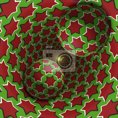 Optische Illusion Illustration. Zwei Kugeln bewegen sich in gesprenkeltes Loch. Rote Sterne auf grünem Muster Objekte. Abstrakte Phantasie in einem surrealen Stil.